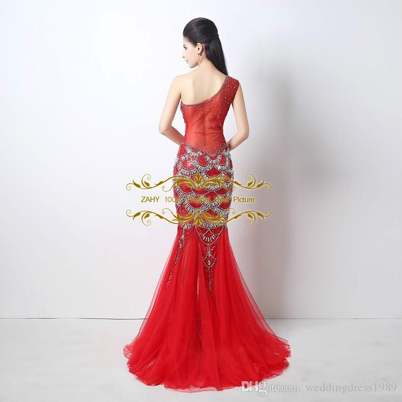 Immagine reale Tulle Pageant Dress One-spalla Mermiad Red Cocktail Party Dresses 2018 New ZAHY Mermaid Prom Dresses