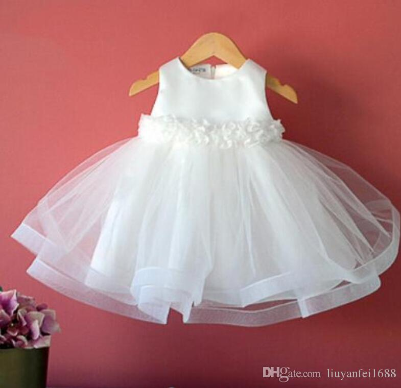 2015 Bow Tulle Flower Girls' Dresses Princess Hand Made Flowers First Communion Party Sweet Sleeveless New Little Girls Party Dress Gowns