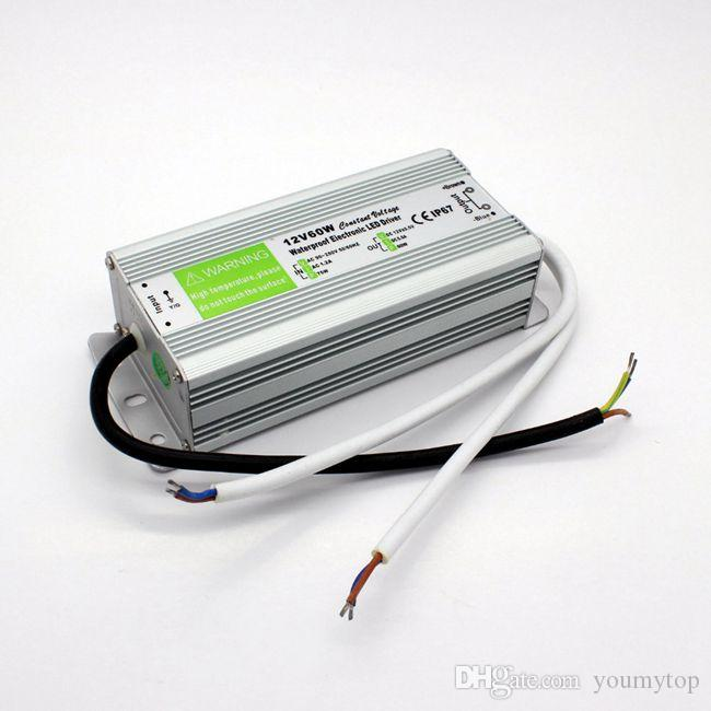 60W Waterproof Outdoor LED Power Supply Driver 90-267V AC to 12V 24V DC Transformer IP67 for LED Module and Strip
