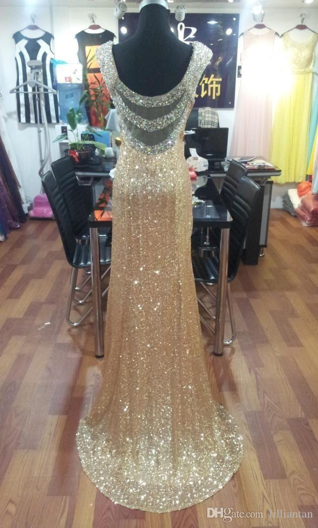 Elegantes lentejuelas doradas Vestidos de famosos Cuello de abalorios largos Vestidos de noche formales Vestidos de recepción Vestidos de alfombra roja Vestidos para banquetes