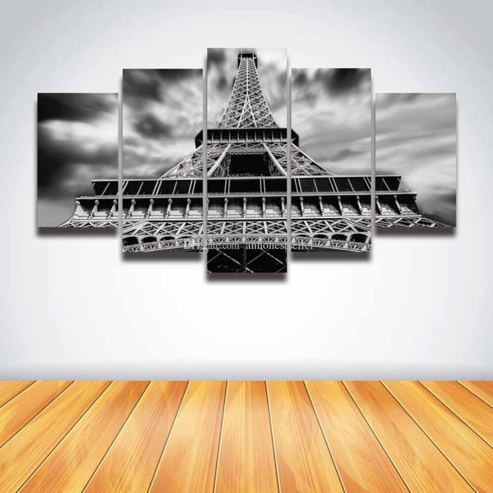 5 Panel Canvas Wall Picture Paris Eiffel Tower Painting HD Prints Modular Picture for Home Decor Living Room Decorate Bedroom
