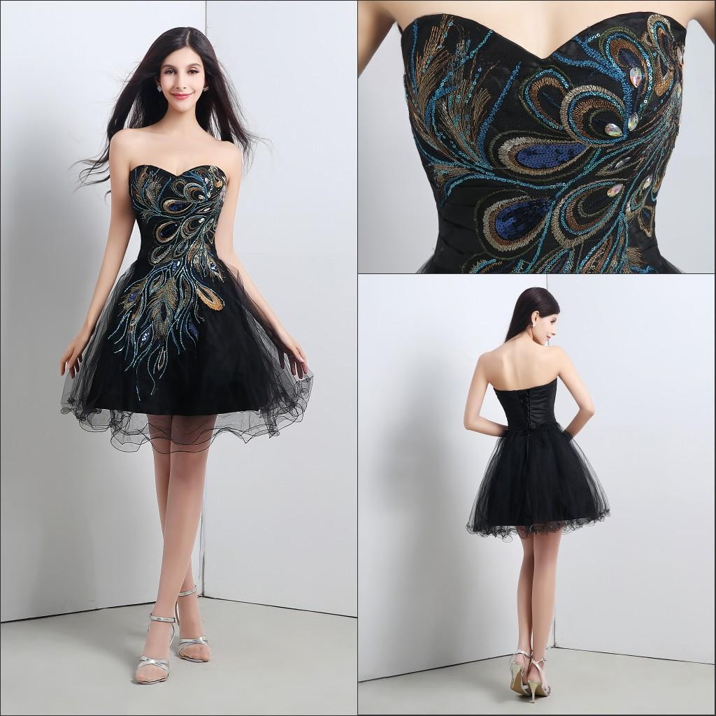 In Stock Black Cocktail Dresses With Sequins Peacock Tulle ...