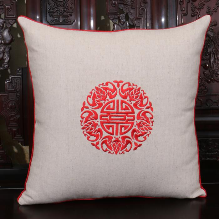 Chinese style Cotton Linen White Cushion Cover Chair Sofa Embroidered Joyous Office Home Dining Chair Cushion Pillow Case