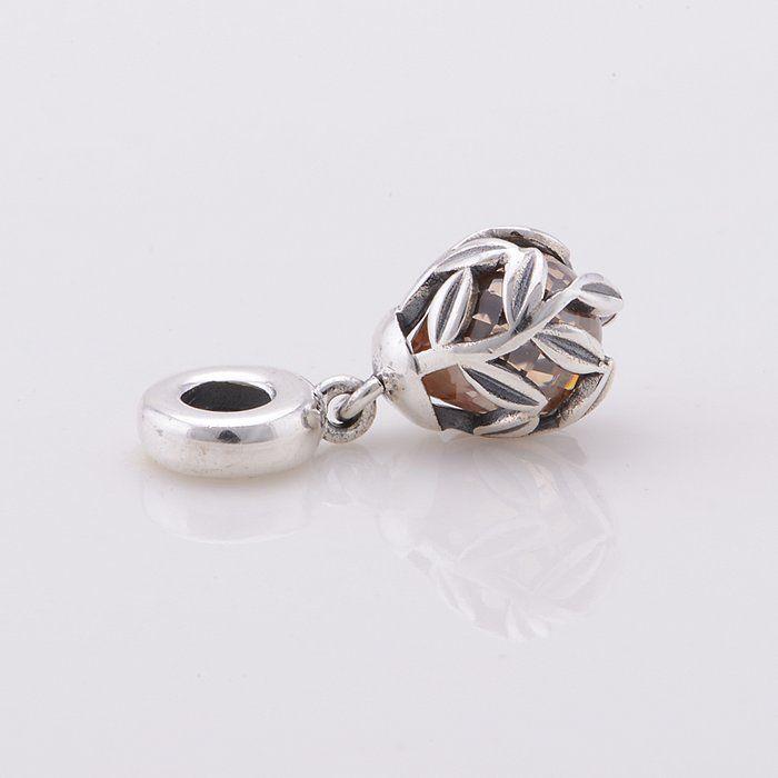 925 Sterling Silver Golden Laurel feuilles Dangle pendentif perle s'adapte Pandora Style Bijoux Bracelets Bracelets Colliers