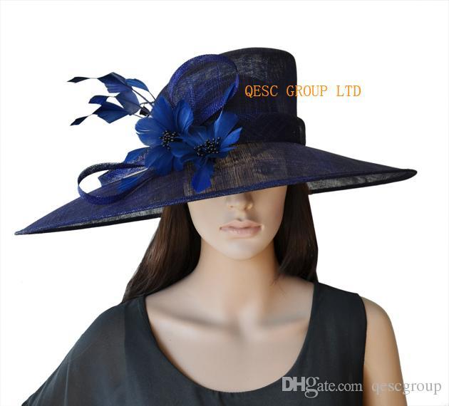 Azul marinho X Grande Sinamay Kentucky Derby Chapéu com penas flor para raças de casamento da igreja.brim largura 19.5cm
