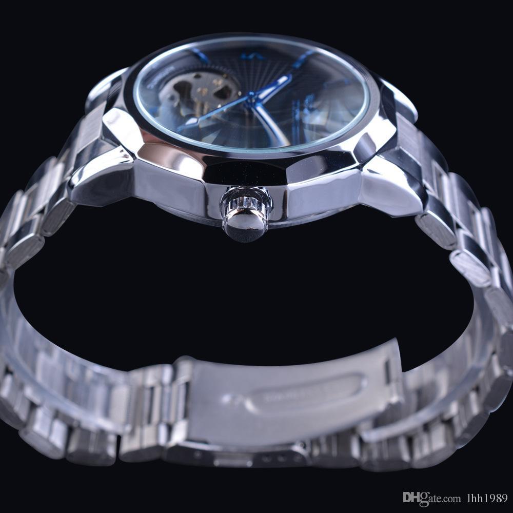 novo vencedor azul moda mar design geométrico esqueleto transparente cinta de aço inoxidável dos homens relógio top relógio mecânico de moda automática.