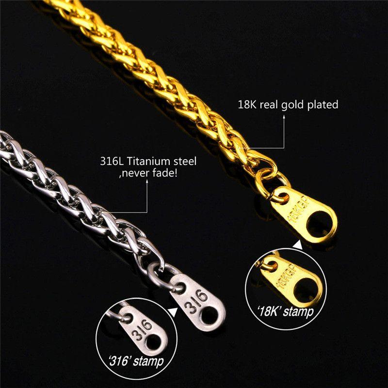 Catene Acciaio inossidabile classico Mens degli uomini 18K placcato oro d'epoca latina Christian Cross collane dei pendenti