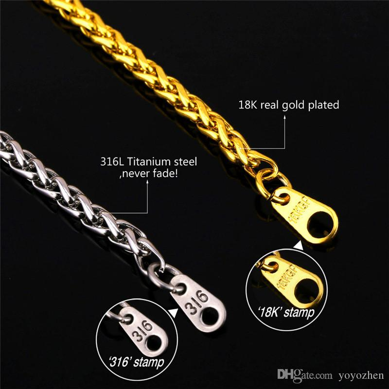 Men's Classic Stainless Steel Mens Chains 18K Real Gold Plated Vintage Latin Christian Cross Pendants Necklaces