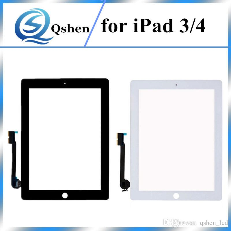 For iPad 3 For iPad 4 Touch Screen Panel Digitizer Glass Front Assembly Repir Parts Black & White Replacement High Copy