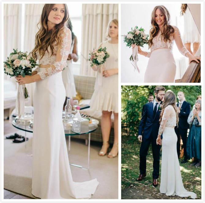 Discount Bohemian Two Piece Long Sleeves Wedding Dresses 2016
