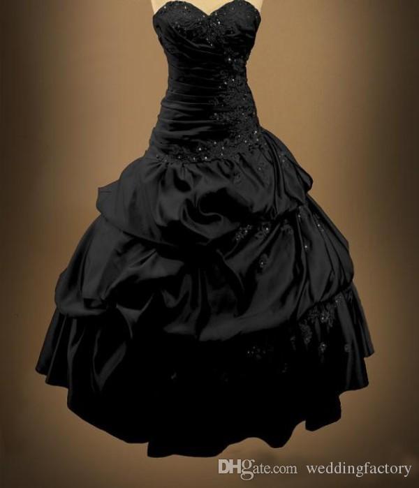 Unieke zwarte gotische trouwjurken Victoriaanse een lijn baljurk afgekapte riemen kralen kant applicaties lace-up rug bruidsjurken kapel trein