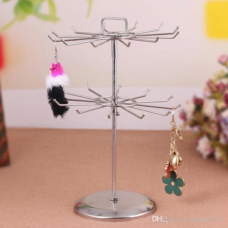 Exklusiva roterbara ram Dubbelskikt Hängsmycke Halsband Smycken Display Stativhållare Örhängen Rack Storage Hylla