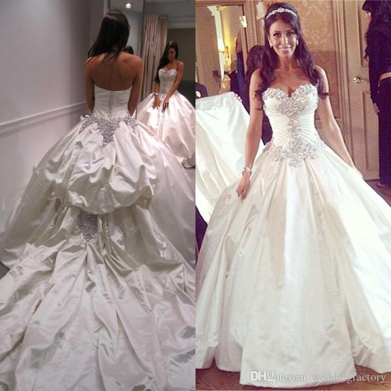 Noble Custom Made Ball Gown Wedding Dress Sweetheart Sleeveless Corset  Taffeta Bridal Gowns Sparkly Crystals Long Train Beautiful Wedding Gowns  Bridal Gown ... 3bc6600e37c5