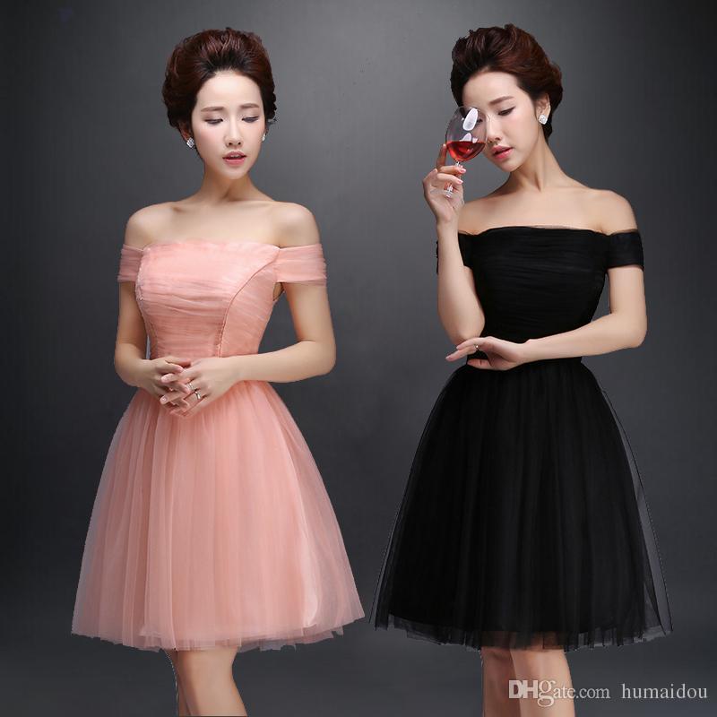 New Elegant A Line Strapless Off Shoulder Short Party Dress Lace Up ...