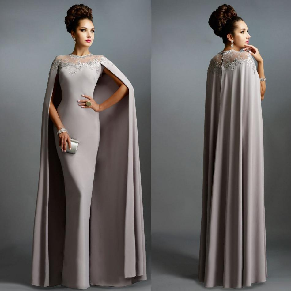 Sexy Formal Celebrity Dresses 2019 Elie Saab Cape Evening Gowns Grey Pleated with Ruffles Lace-edged Neckline Cheap Sheer Prom Dresses