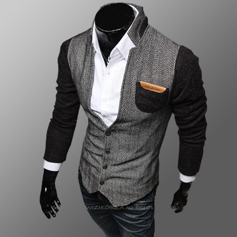 2015 New Men'S Spring And Autumn Stitching Collar Cardigan Sweater ...
