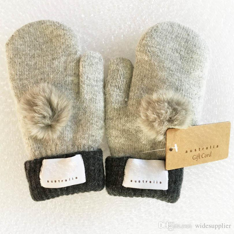 Fashion Women's Brand Gloves for Winter and Autumn Cashmere Mittens Gloves with Lovely Fur Ball Outdoor sport warm Winter Gloves