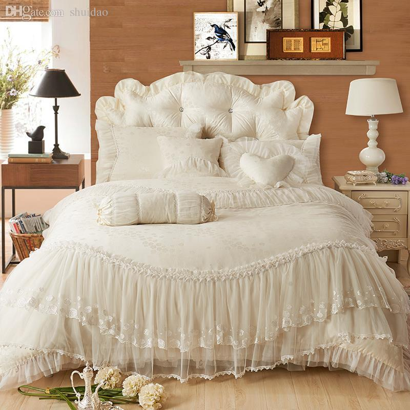Wholesale Luxury Lace Edge Princess Cream Colored Wedding Bedding Set Satin  Jacquard Bedclothes Romantic Elegant Bed Skirt Ruffles Bedding Sheets Duvet  ...