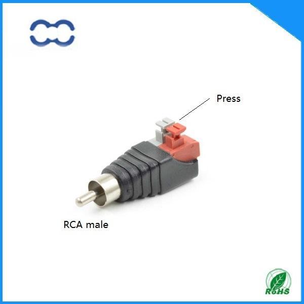 Conector RCA macho niquelado de audio de buena calidad y RoHS para cable de audio