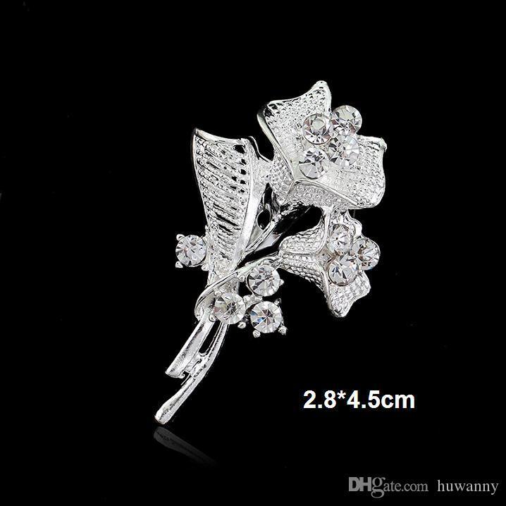 أعلى درجة 1.2 بوصة بيع الزفاف دبابيس الساخن كريستال زهرة اللؤلؤ فراشة دبابيس للحزب الفضة والمجوهرات بالجملة السفينة الحرة 0024DR