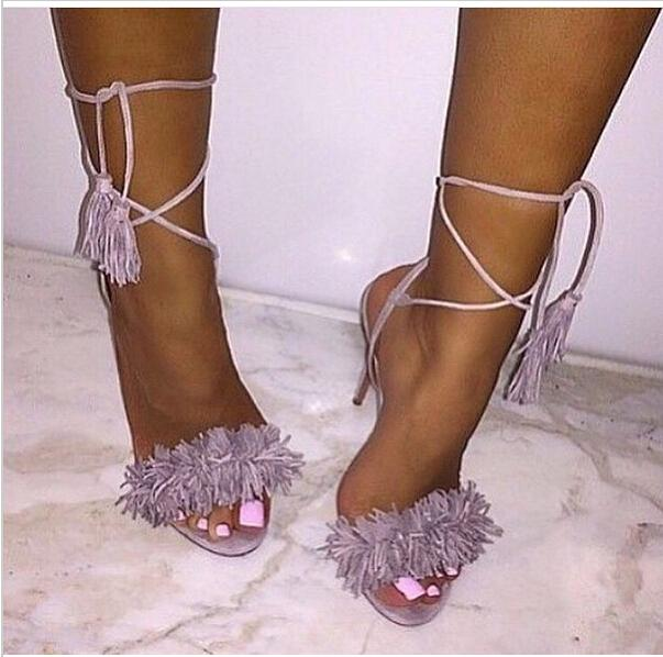 Sweet Tassel Ankle Lace-Up Women Sandals 2015 Hot Sale Back Strap Suede Peep Toe Fringe Sandals New High Heels Party Shoes Woman