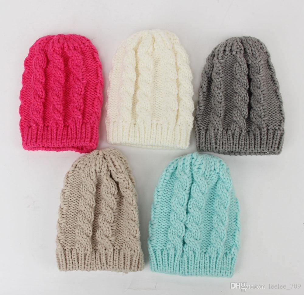 Newborn Knit Beanie Hats Baby Boy Girls Wool Crochet Caps Toddler Kid Cotton Wraps Infant Unisex Hair Accessories Photography Bonnet