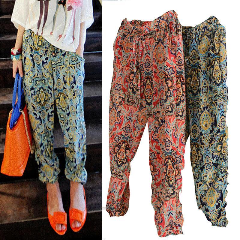 Online Cheap Women Korean Floral Chiffon Harem Pants Women Ladies ...
