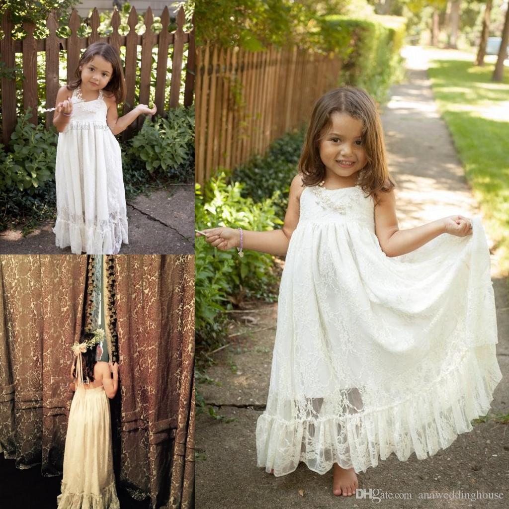 Cute Lace Flower Girl's Dresses For Wedding Event Halter A Line Floor Length Kids communion dresses backless pageant Dress for little Girls