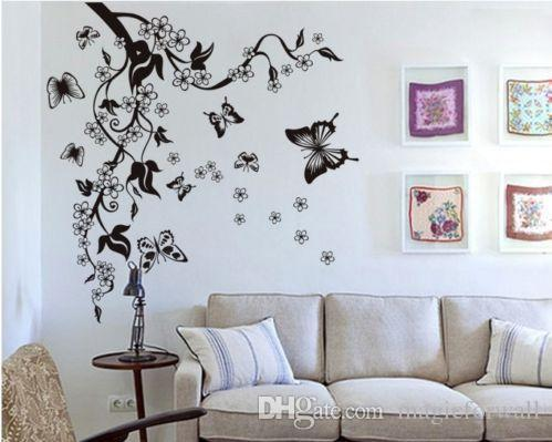 Black Tree Wall Decal Flowers Butterflies Wall Decal Sticker Black Blossom Tree and Flying Butterflies White Flower Wall Sticker Decals