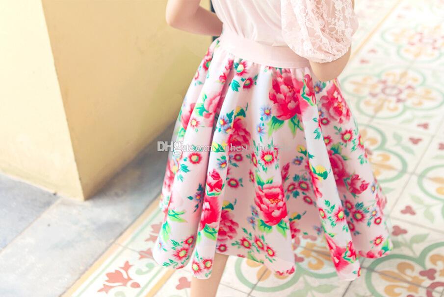 5 - 2017 2015 Kids Girls Print Floral Maxi Skirts Baby Girl Summer