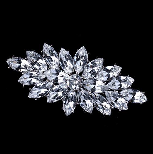 Klar Marquise Acryl Crystal Diamante Brosche Vintage Silber Ton Kostenloser Versand