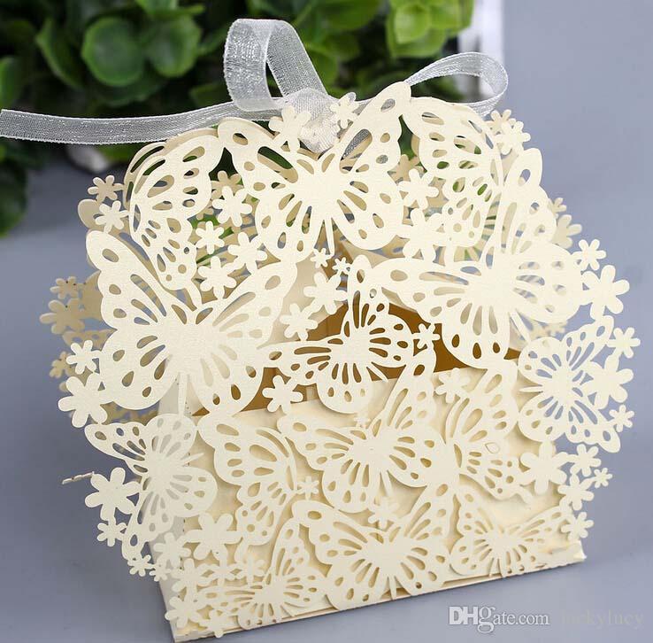 Estilo europeo Favor de la boda Mariposa Flor Hueco cuadrado Caramelo Caja de chocolate Bolsas de regalo de papel para artículos de fiesta