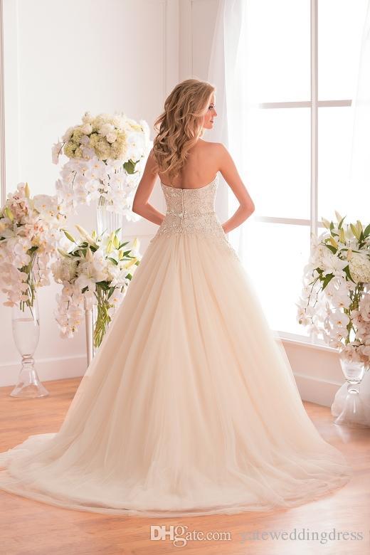 Custom Made Aplike Gelinlik Dantel Line Kat Uzunluk Fermuar Tül Gelin Elbise Fildişi Boncuk Straplez Seksi Düğün