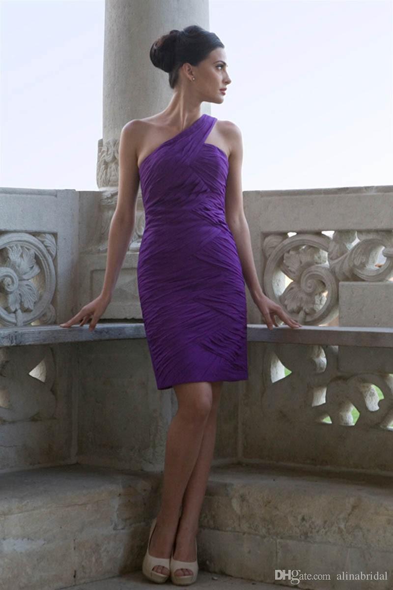 Venda quente Bainha Roxo Curto Da Dama de Honra Vestidos de Um Ombro Sexy Prom Coquetel Vestidos de Festa de Natal Das Mulheres Vestido