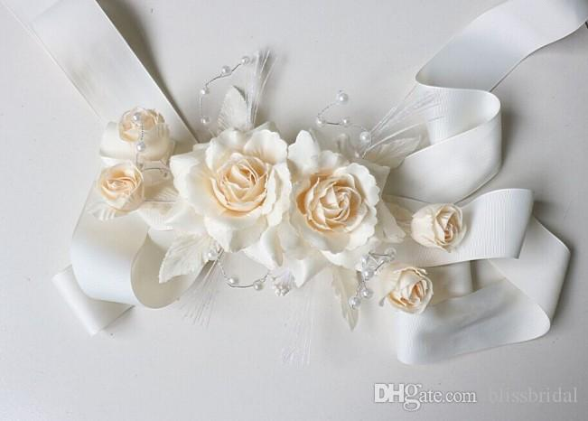 Real Picture Artificial Flowers Hand Made Wedding Belts Bridal Sashes Silk Satin Ribbon Sashes With Pearls Romantic Yellow Floral Free Shipp