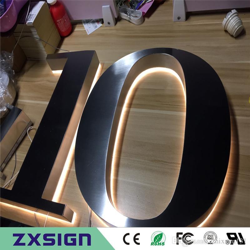 4 inches high Outdoor waterproof stainless steel backlit house numbers,  halo lit home doorplates, rear lit metal figures