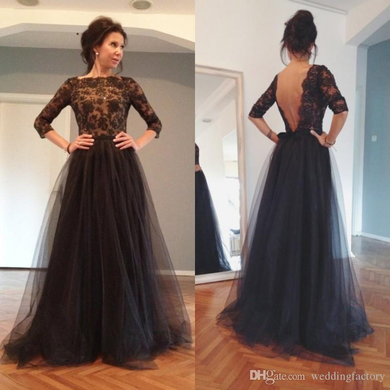 Cheap Backless Black Prom Dresses 2015 Spring A Line Bateau Illusion ...