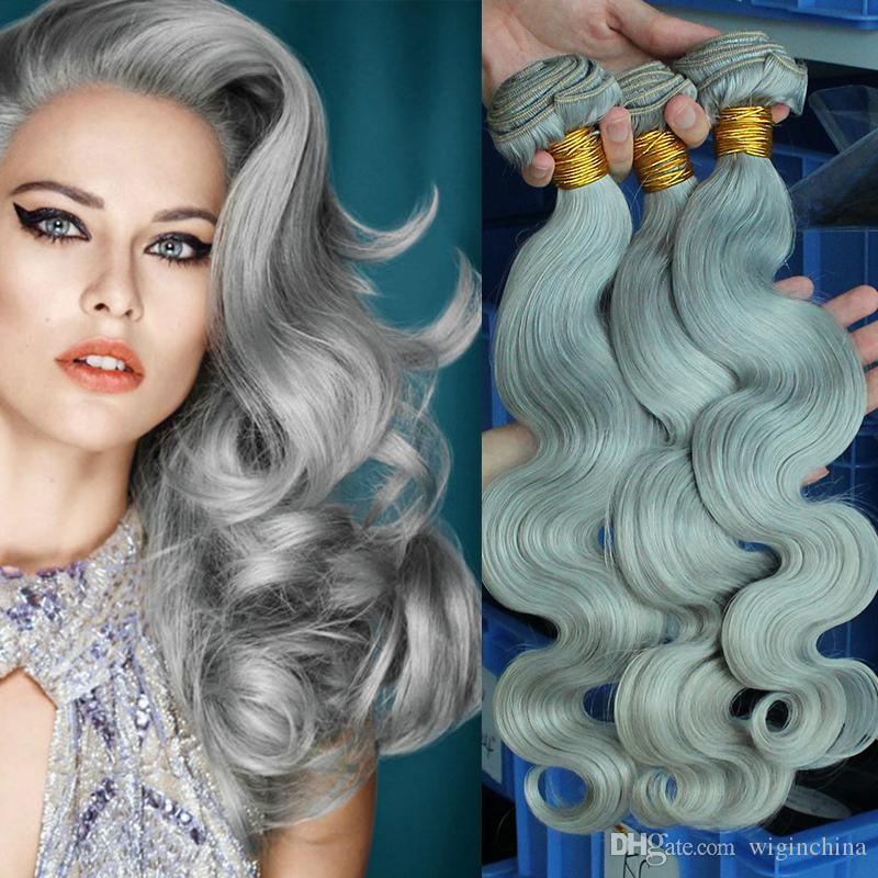8a Brazilian Body Wave Colorful Platinum Grey Hair Extensions 100