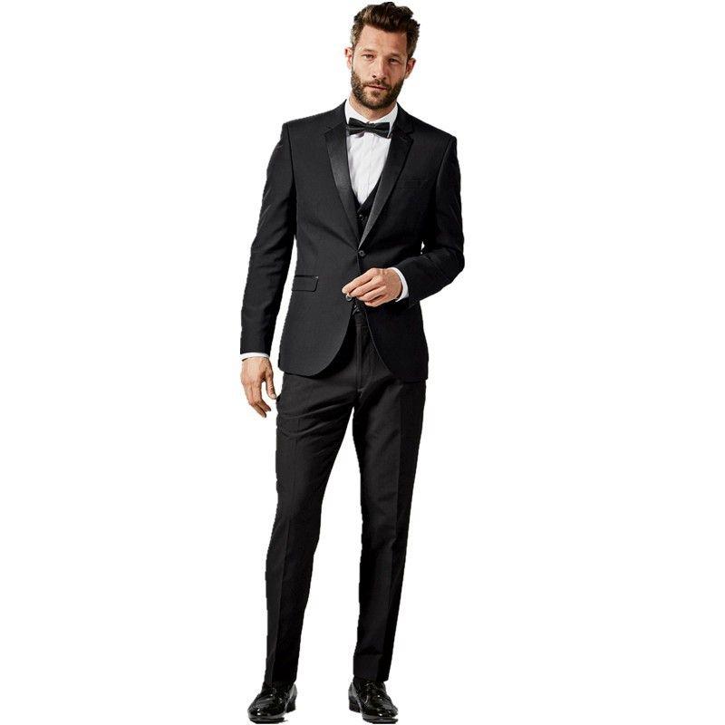 2016 New Arrival Mens Slim Fit Suits Black Wool Blazer Groom ...