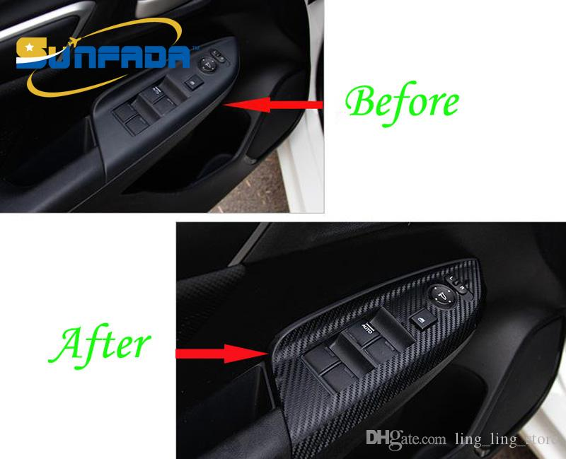 SUNFADA углеродного волокна интерьер подлокотник украшения автомобиля стикер модификации автозапчасти для HONDA FIT / JAZZ 3-го поколения 2014-2017 стайлинга автомобилей