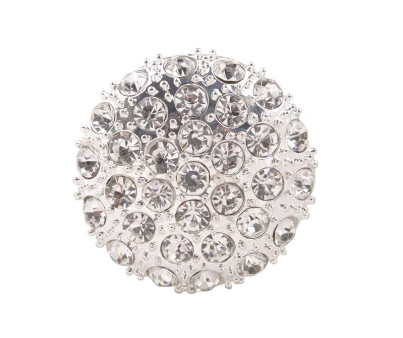 10 PCS Clear Rhinestone Pave Bottoni in metallo argento 38mm # 92269
