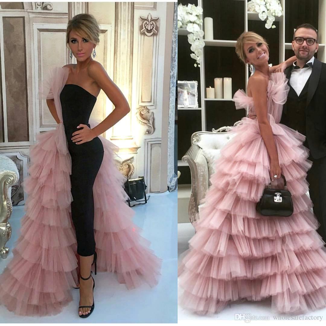 화려한 분홍색 얇은 얇은 루프 라인 이브닝 드레스 2017 바닥 길이 정식 유명인 게스트 댄스 파티 BA7249
