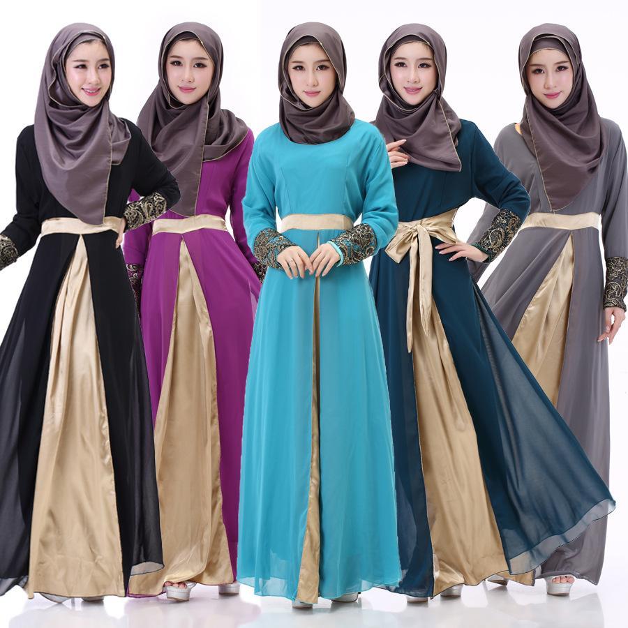 2016 Muslim Maxi Dress Abaya Islamic Chiffon Long Sleeve Dress Dress ...