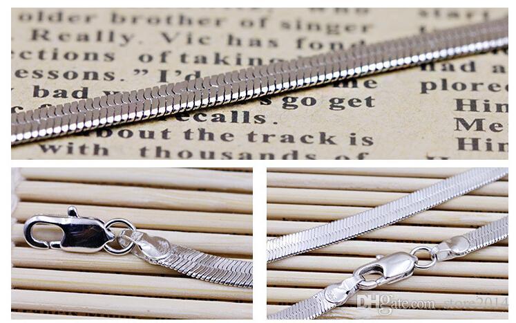 Nuove catene dell'argento sterlina 925 collane Unisex Piatto serpente Catena dell'osso Catena della clavicola Gioielli in argento placcato