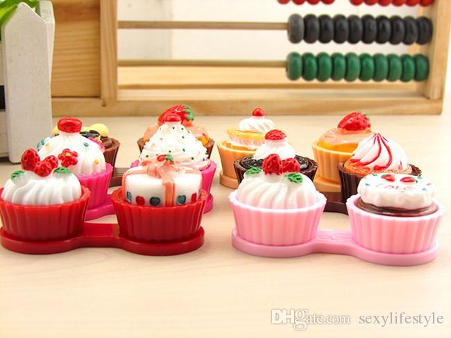 Cartoon Cute Cream Cake Glasses Double Contact Lenses Box Contact Lens Case For Eyes Care Kit Holder Container Gift
