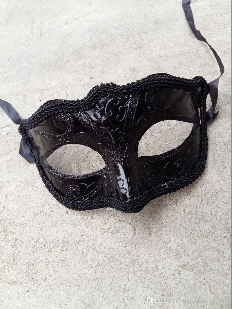 Frauen Mädchen Sexy Black Lace Edge venezianischen Maskerade Hallowmas Maske Maskerade Masken mit Shining Glitter Maske Tanzparty Maske