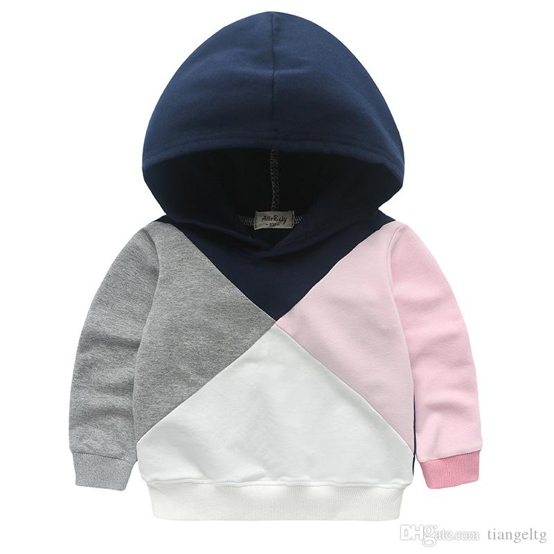 Girls' Patchwork Jumper Hoodies White Pink Grey Navy Patch Kids Casual Active Spring Autumn Sweatshirts Fashion Outfit 2-8T