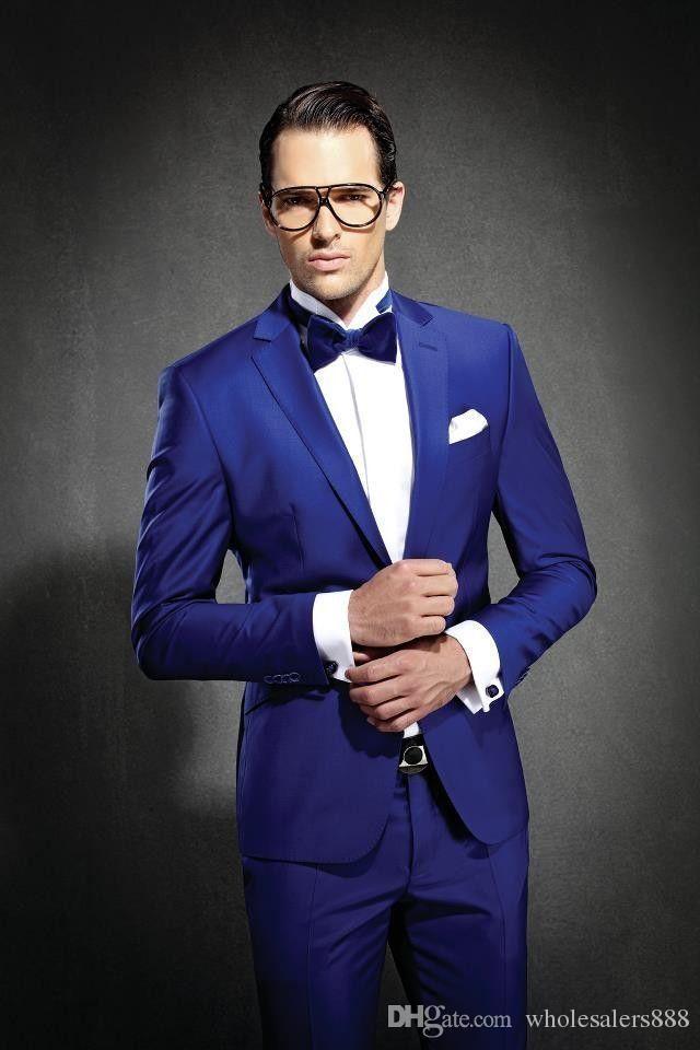 Najnowszy Slim Fit Groom Tuxedos Royal Blue Best Man Suit Notch Lapel Groomsman Mężczyźni Garnitury Ślubne Oblubienica Kurtka + Spodnie + Krawat J692