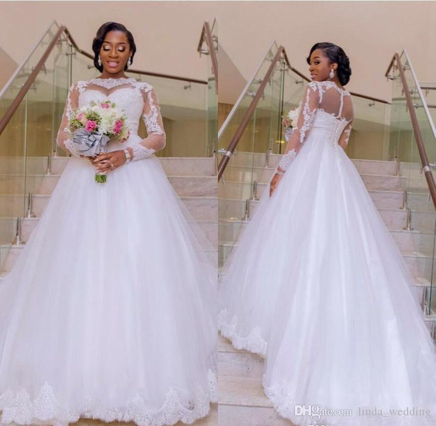2019 New Nigerian A Line Wedding Dress Sheer Neck Long Sleeves Lace Applique Bridal Gown Custom Made Plus Size