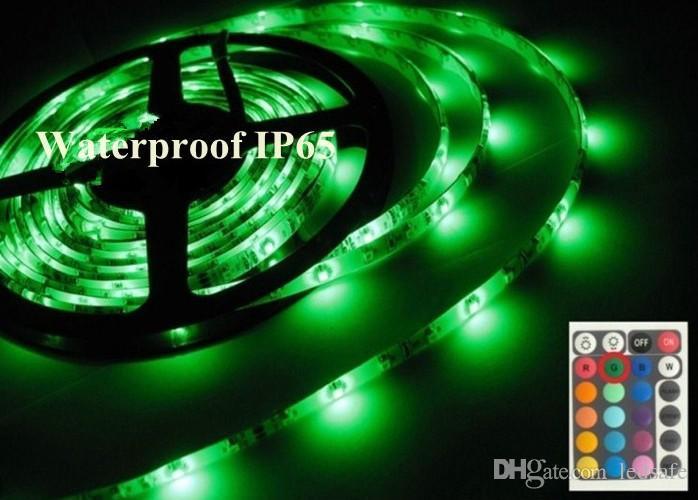 Открытый сад Водонепроницаемый IP65 Светодиодная лента DC 12V 3528 SMD нескольких цветов Изменение Rope 300LEDs с ИК пультов дистанционного управления и 2А адаптер